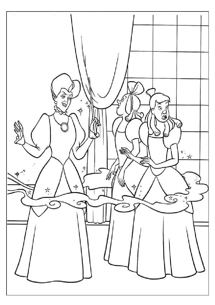 826x1169 Coloring Pages Of Cinderella's Step Mother Doing Magic With Fairy