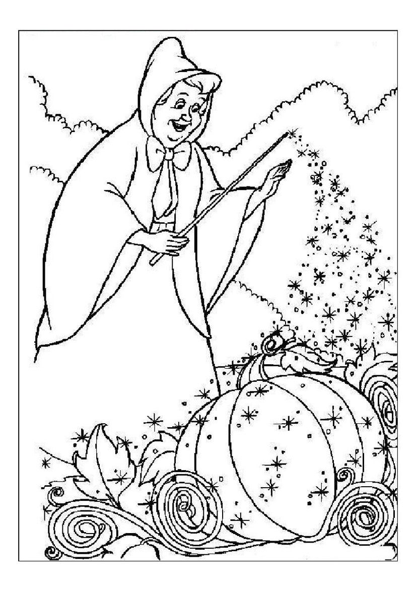 826x1169 Coloring Pages Of Fairy Godmother Making Cinderella's Vehicle Out