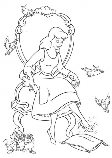 374x525 Cinderella Glass Slipper Left Coloring Pages Coloring Pages