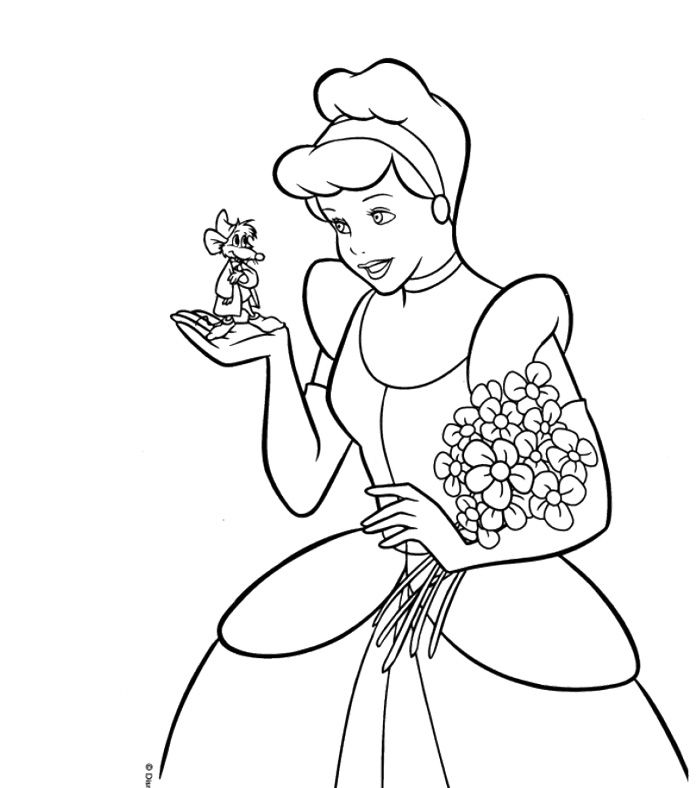 700x788 Cinderella And Mice Coloring Page Cinderella Mice