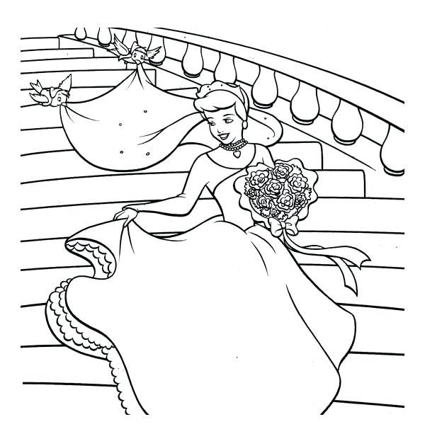 600x630 Coloring Pages Cinderella Wedding Party Cinderella Coloring Pages