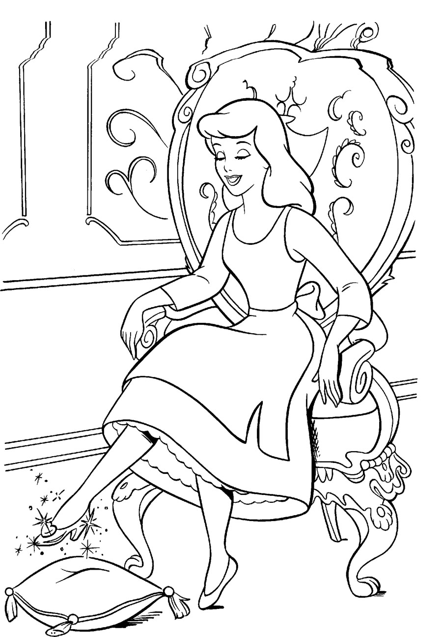 900x1296 Cinderella Try The Glass Slipper Coloring Page Cinderella