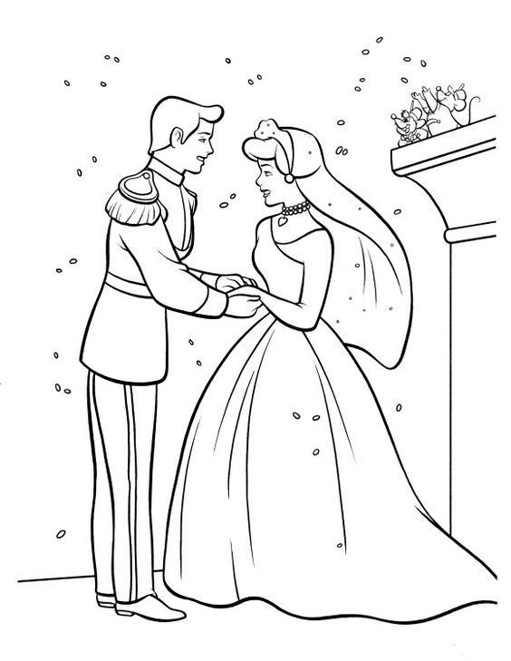 Cinderella Wedding Coloring Pages