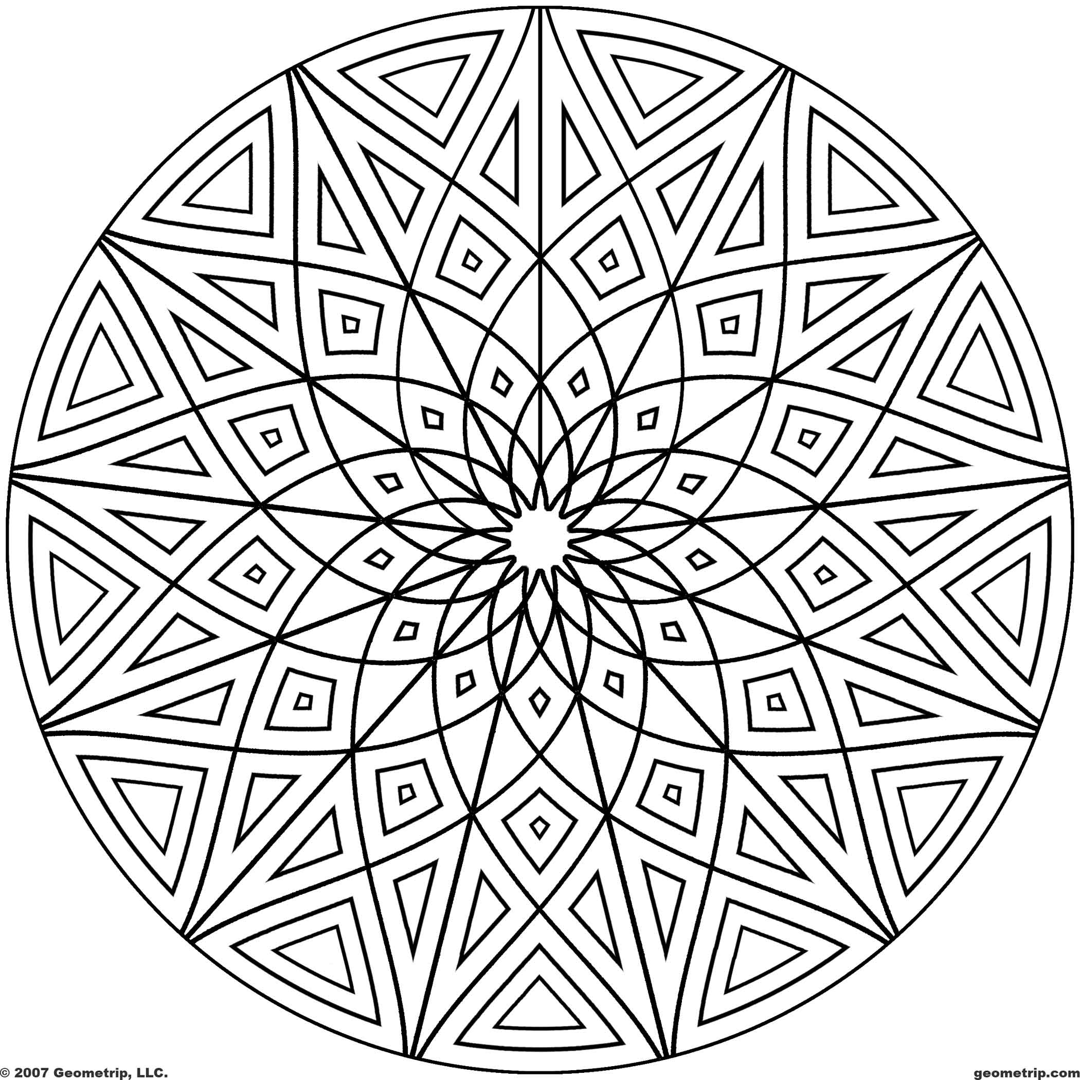 2100x2100 Cool Geometric Design Coloring Pages