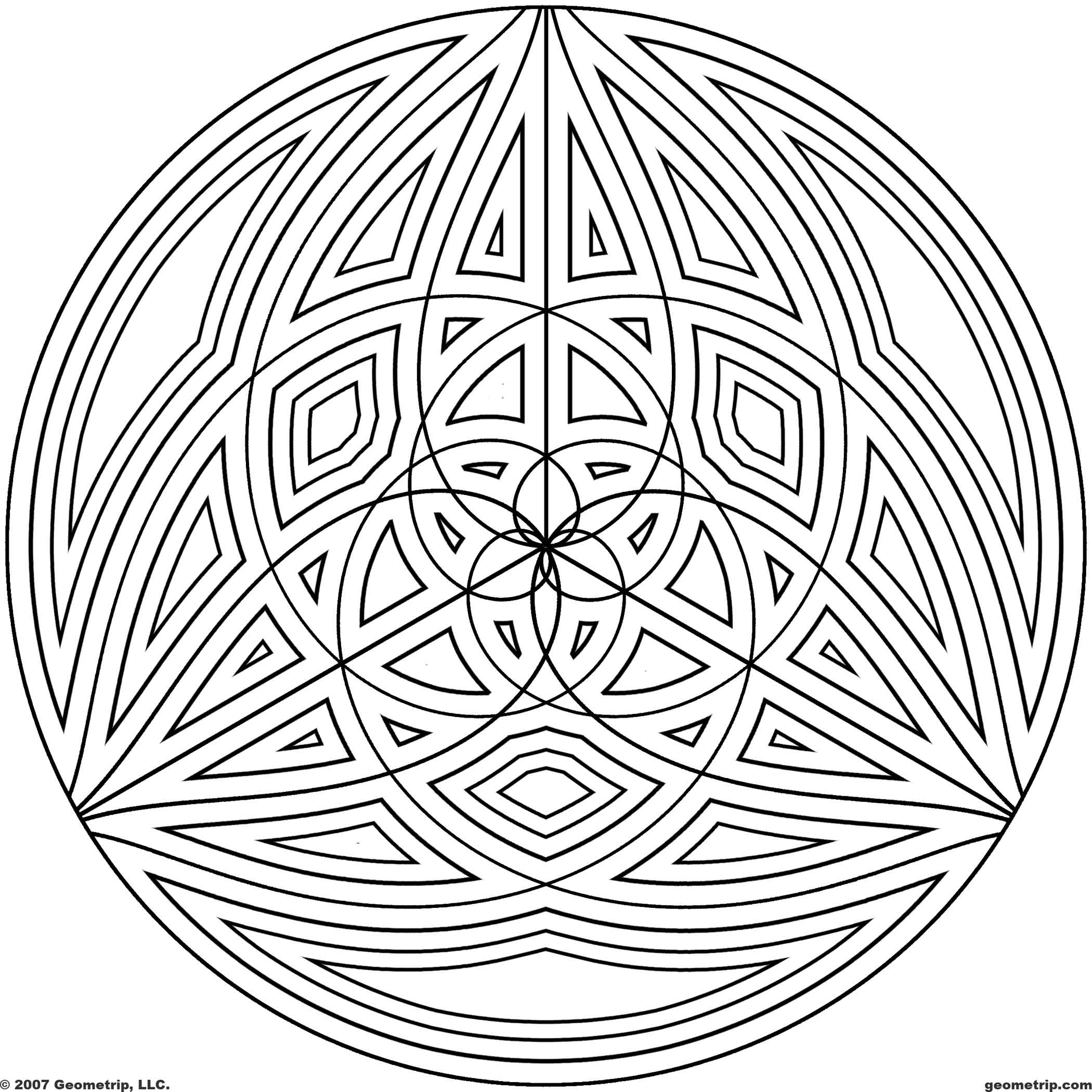 2100x2100 Difficult Geometric Design Coloring Pages Circles Page