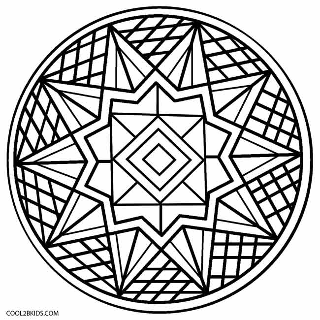 650x650 Kaleidoscope Round And Star Shape Coloring Pages For Adults Mosaic