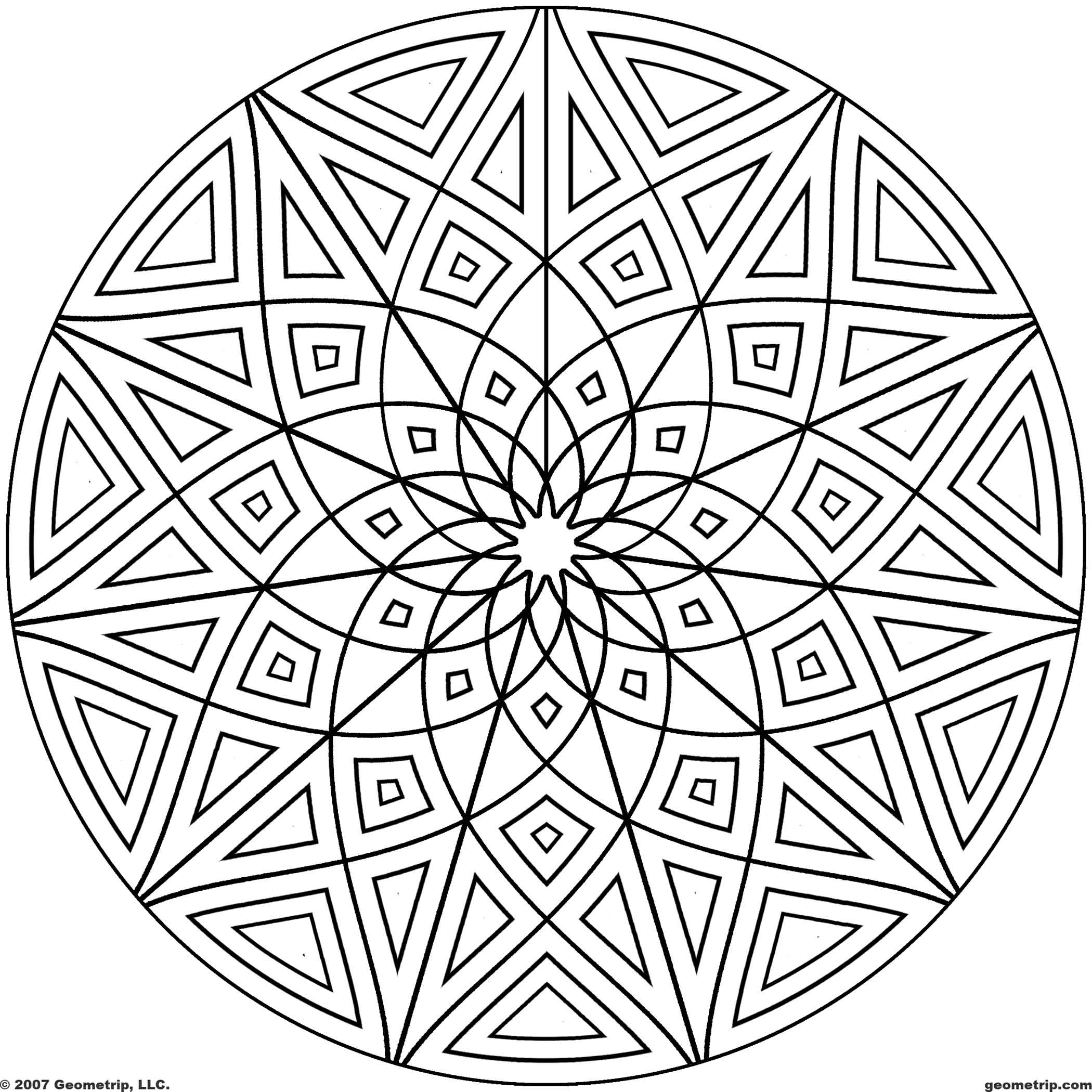 2100x2100 Cool Geometric Designs Coloring Page