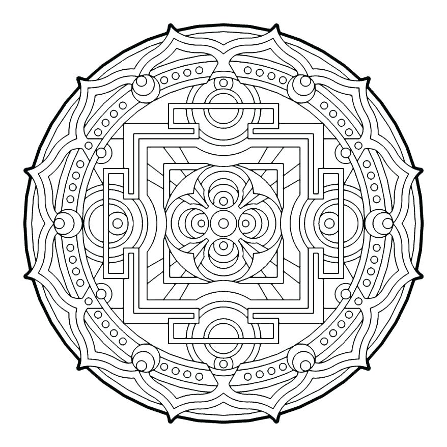 878x878 Design Coloring Page Circles Coloring Pages Geometrical Design
