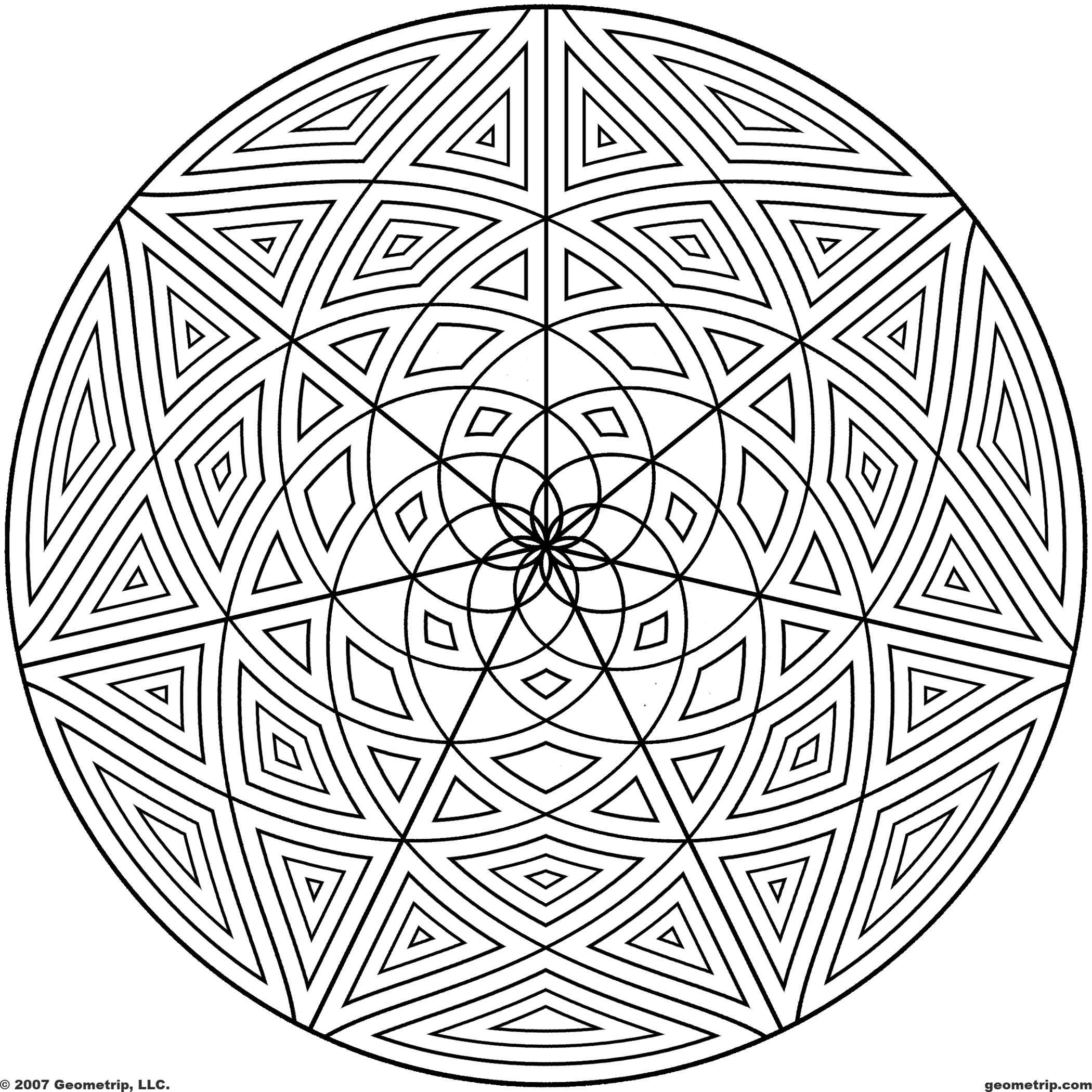 2100x2100 Geometric Page Pattern Coloring Sheets