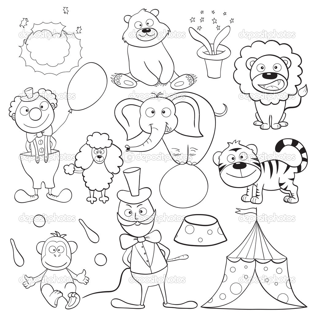 1024x1024 Coloring Pictures Of Circus Animals Preschool To Funny Draw Pages