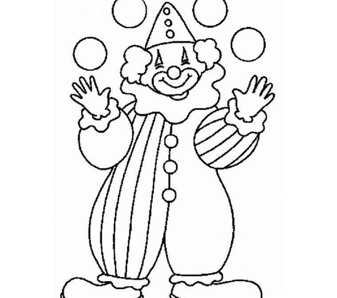 678x600 Clown Coloring Pages For Preschoolers Circus And Clown Coloring