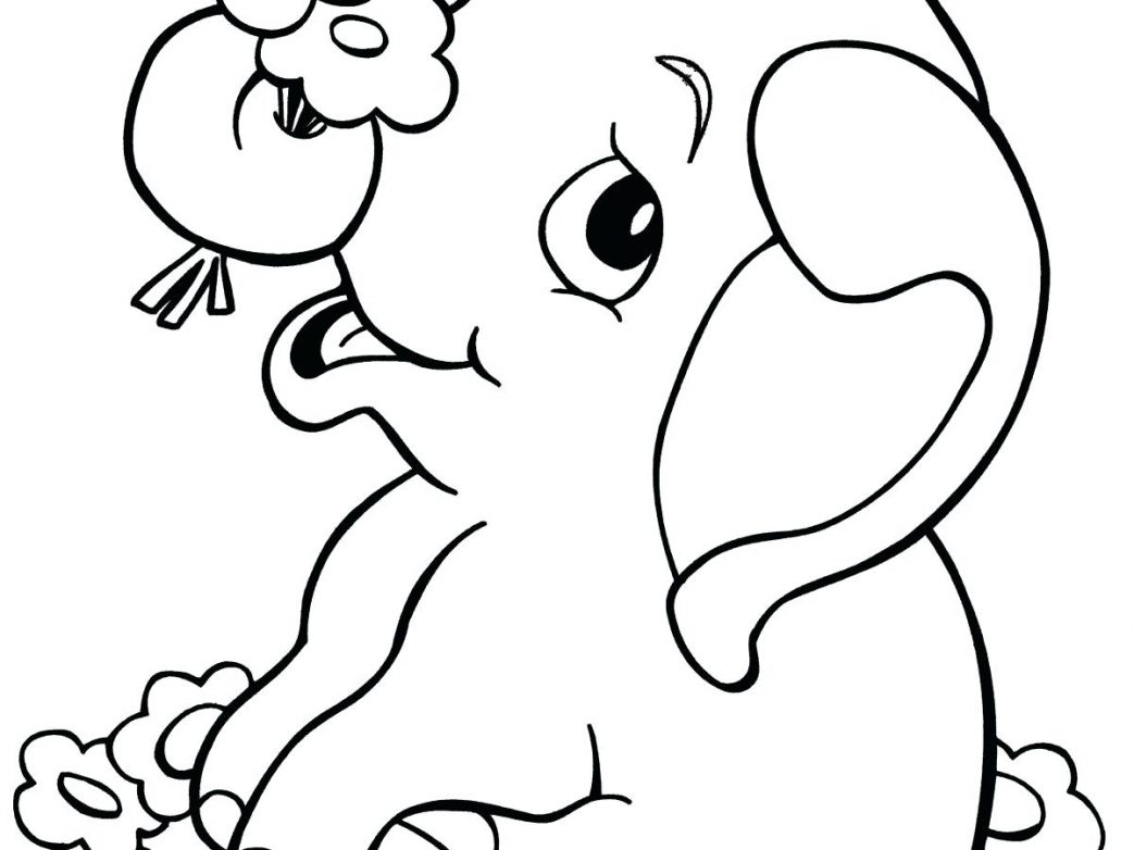 1043x782 Coloring Pages For Kids Animals Elephant Page Image Images Drawing