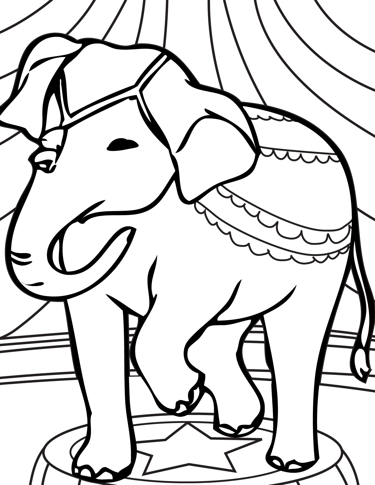 1275x1650 Elephant Acts Coloring Page