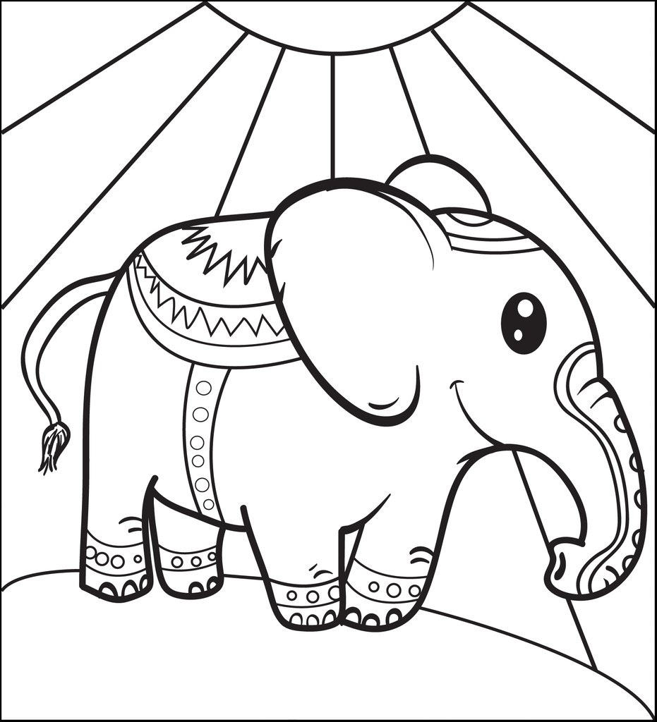 931x1024 Free, Printable Circus Elephant Coloring Page For Kids Supplyme