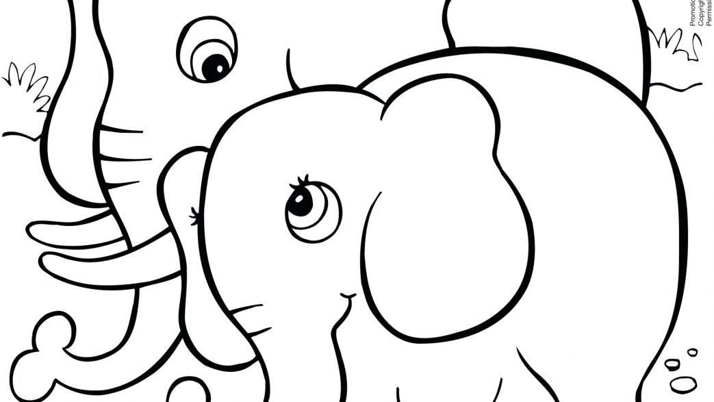 1043x587 Kids Drawing Of An Elephant Coloring Page Pages Christmas Cards