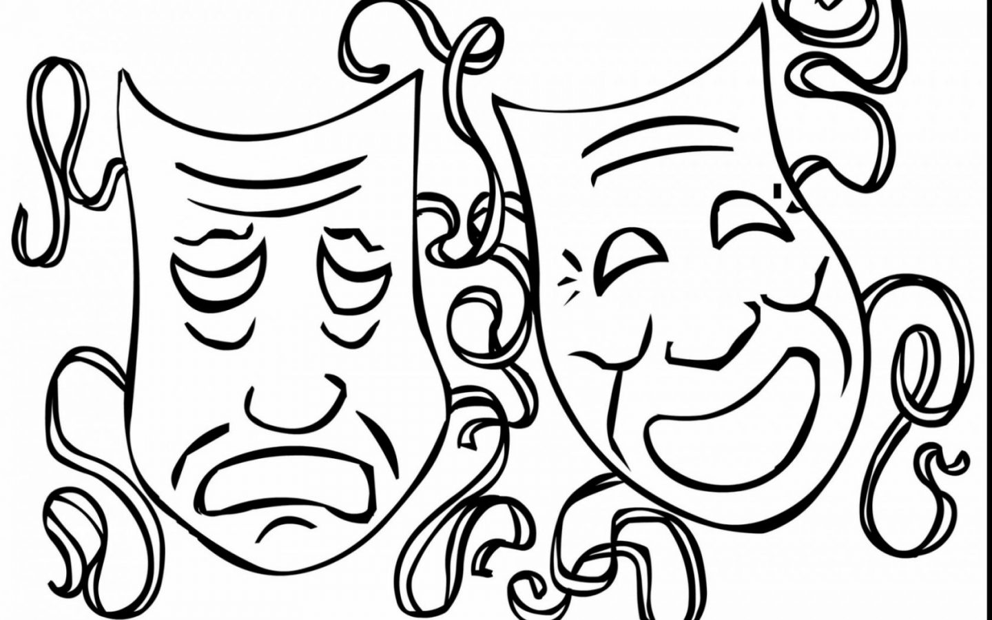 1440x900 Beautiful Lady In Carnival Mask Coloring Page Free Images