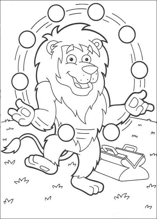 607x850 Juggling Lion Coloring Pages