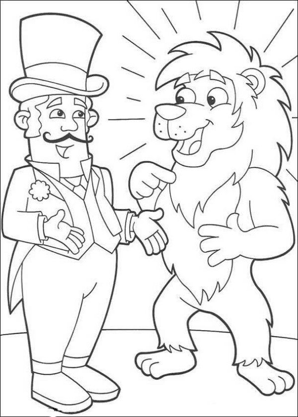 600x840 Lion And Circus Director Dora The Explorer Coloring Page