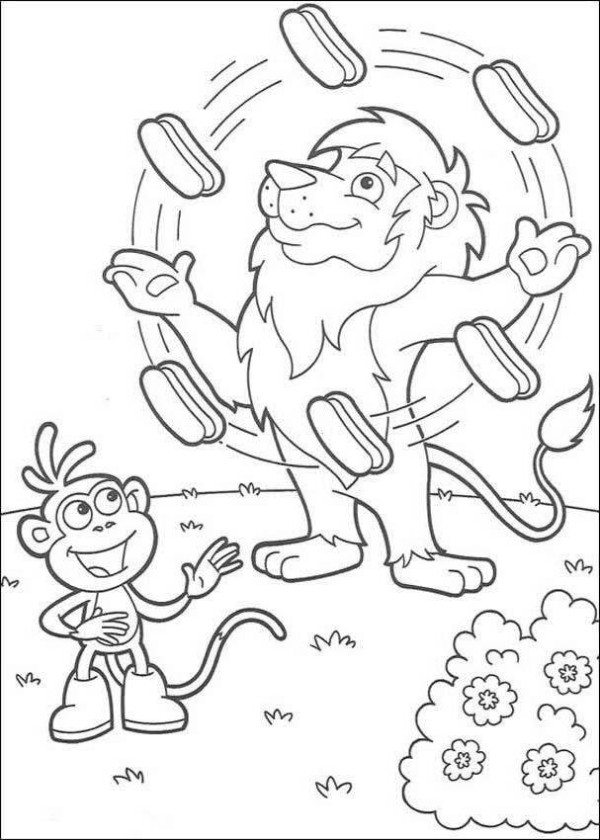 600x840 Lion Juggler Dora The Explorer Coloring Page