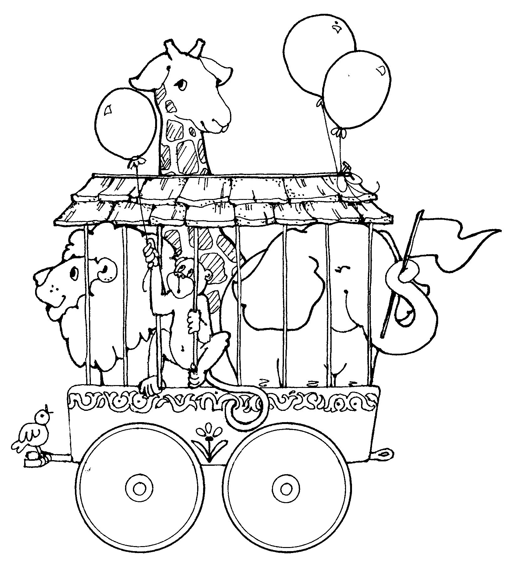 1624x1848 Circus Train With Giraffe Lion And Elephant Coloring Page Train