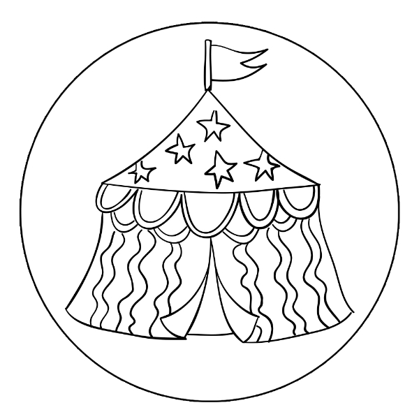 600x600 Circus Tent Coloring Page