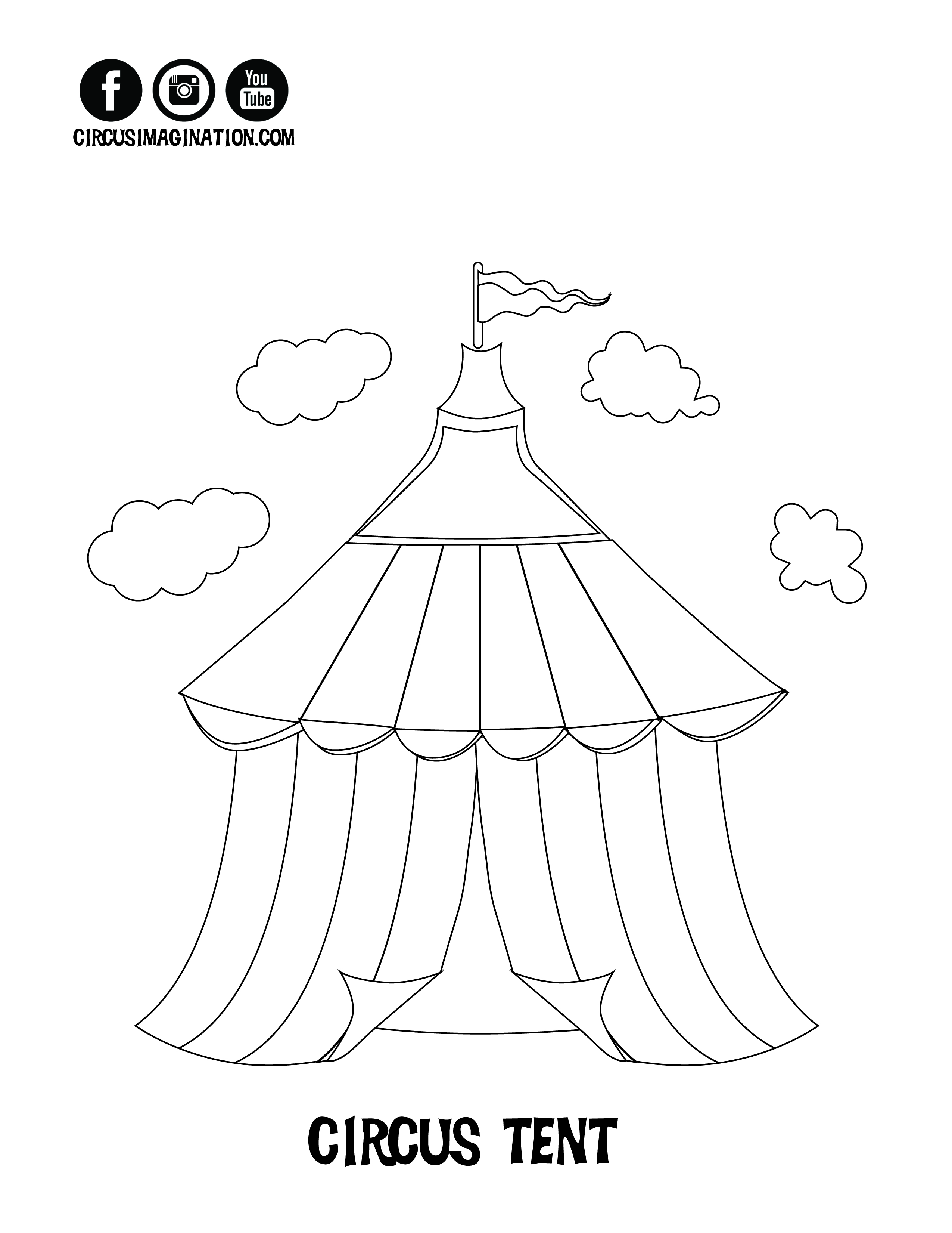 2550x3300 Circus Tent Coloring Page Free Printable Pages Within