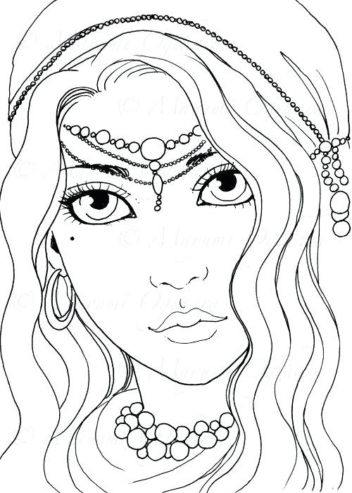 500x700 Digital Coloring Pages Gypsy Girl Digital Stamp Colouring Page