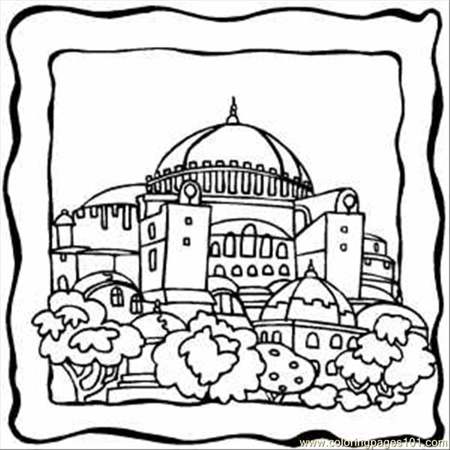 650x650 Dome Building Coloring Page