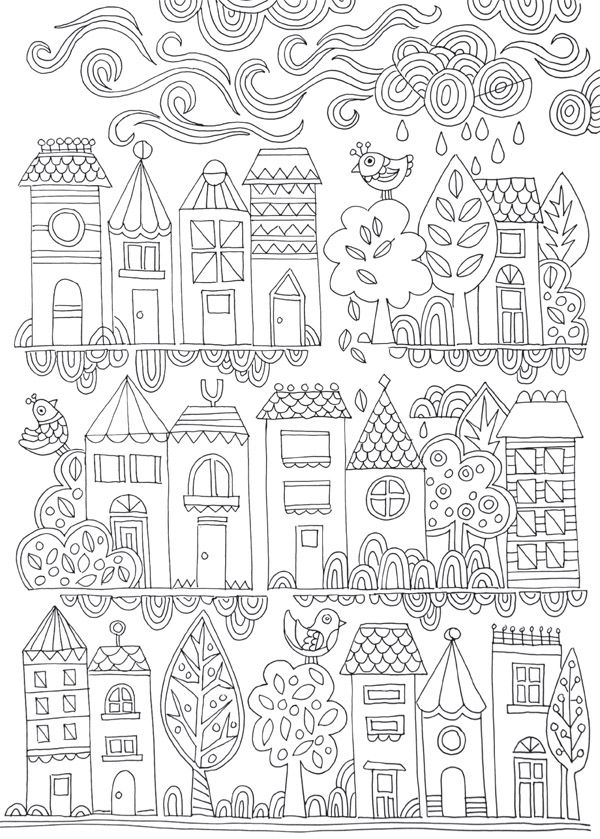 600x839 Free Colouring Poster Tiny Town Adult Coloring, Lisa And Free