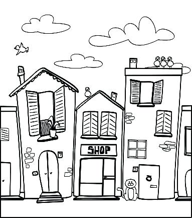 383x433 Getting Around Town Coloring Page Town Coloring Pages Artist