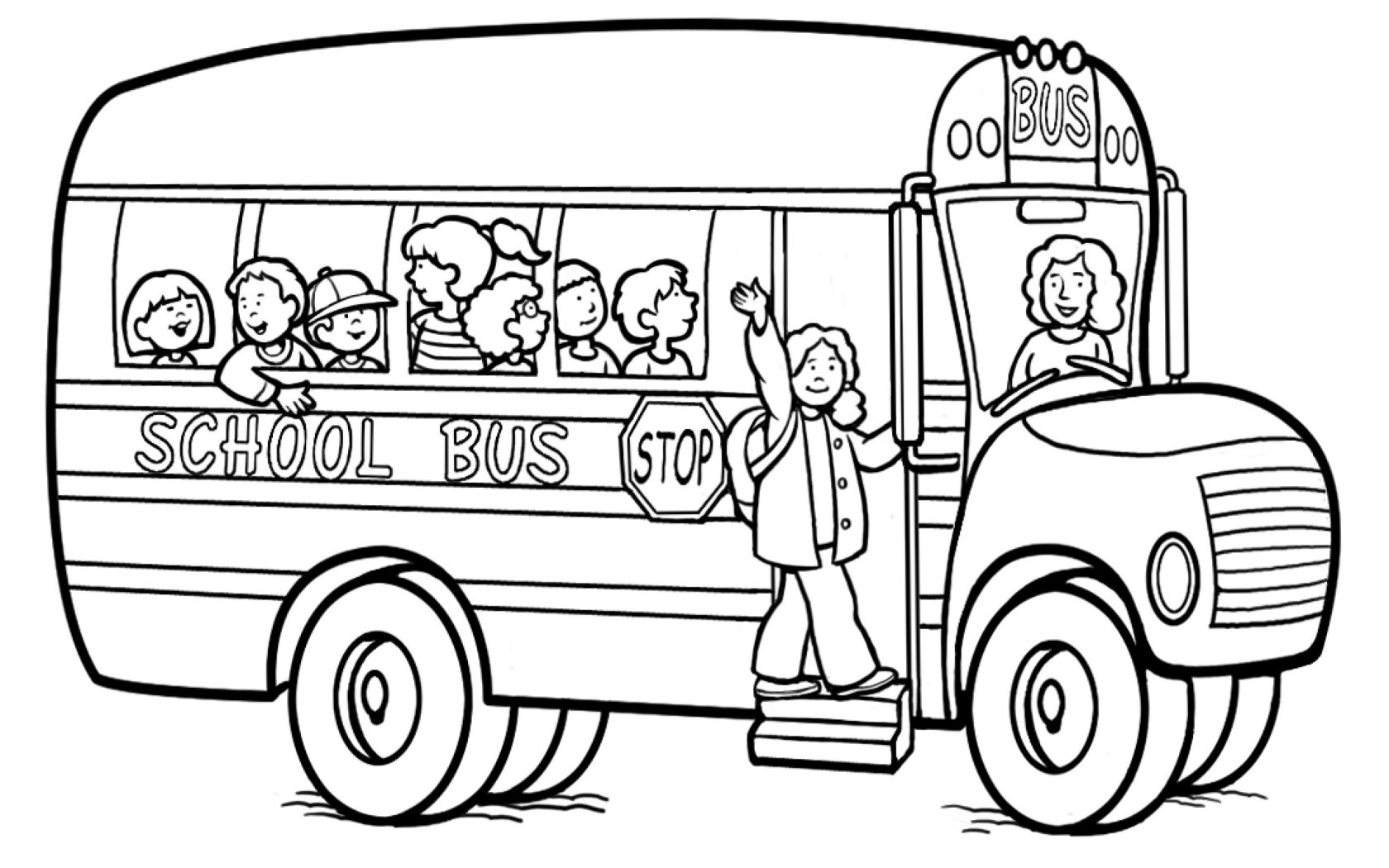 1680x1050 Urgent Wheels On The Bus Coloring Page School