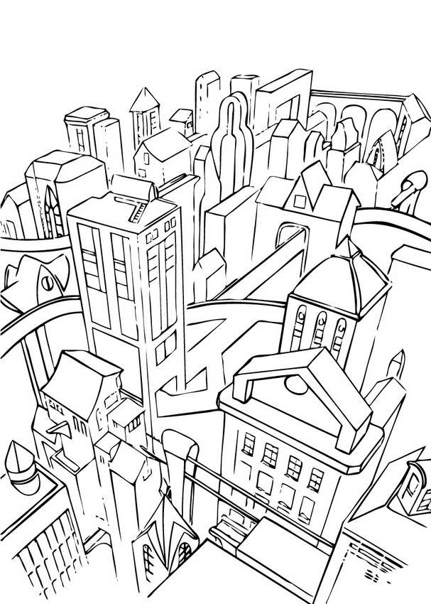 607x850 Gotham City Coloring Pages