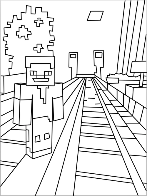 500x667 Printable Minecraft City Coloring Pages Kids Party Ideas