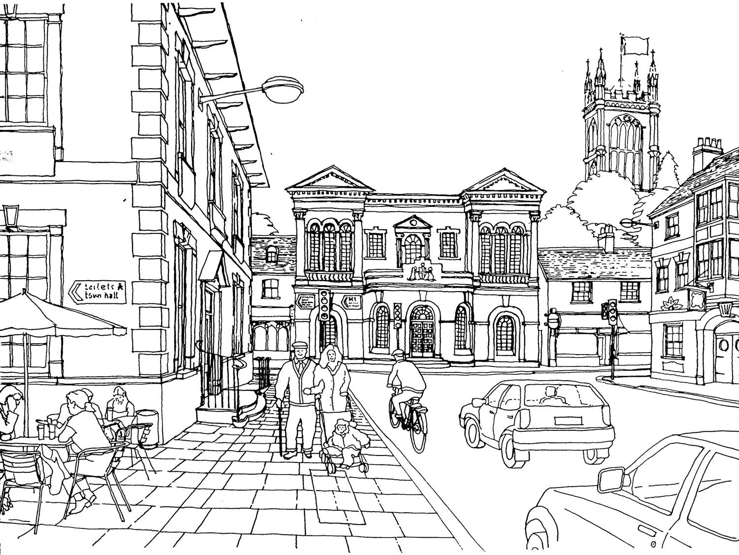 1500x1127 Breakthrough City Coloring Pages For Adults Scene