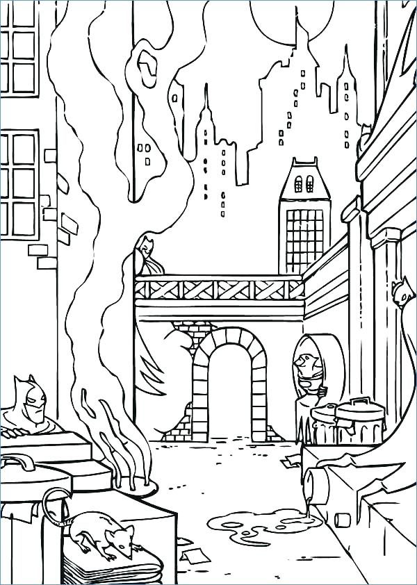 600x842 City Coloring Page City Coloring Pages Batman City Coloring Page