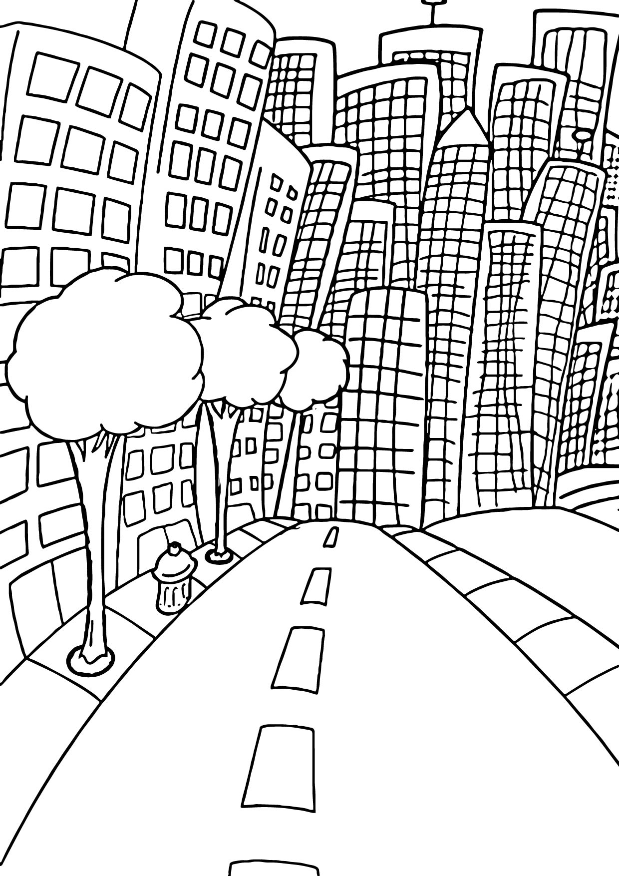 1240x1754 City Coloring Pages For Adults