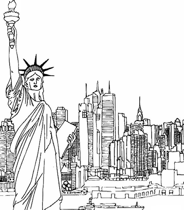 700x800 City Skyline Coloring Page