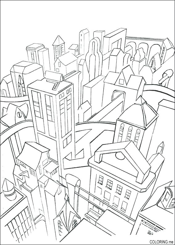 567x794 City Coloring Page