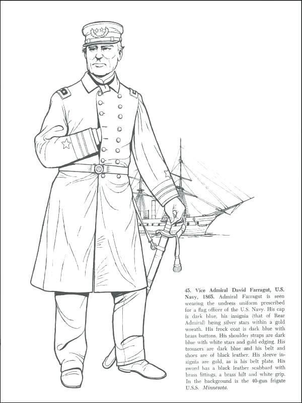 600x799 Captain Coloring Page Captain Coloring Civil War Coloring Pages