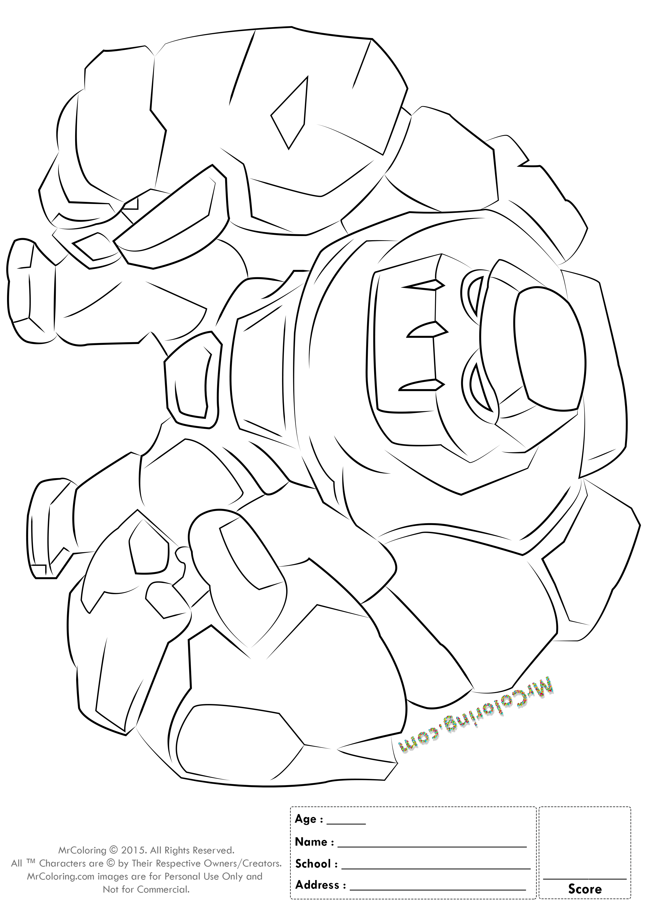 2480x3508 Free Printable Clash Of Clans Golem Coloring Pages
