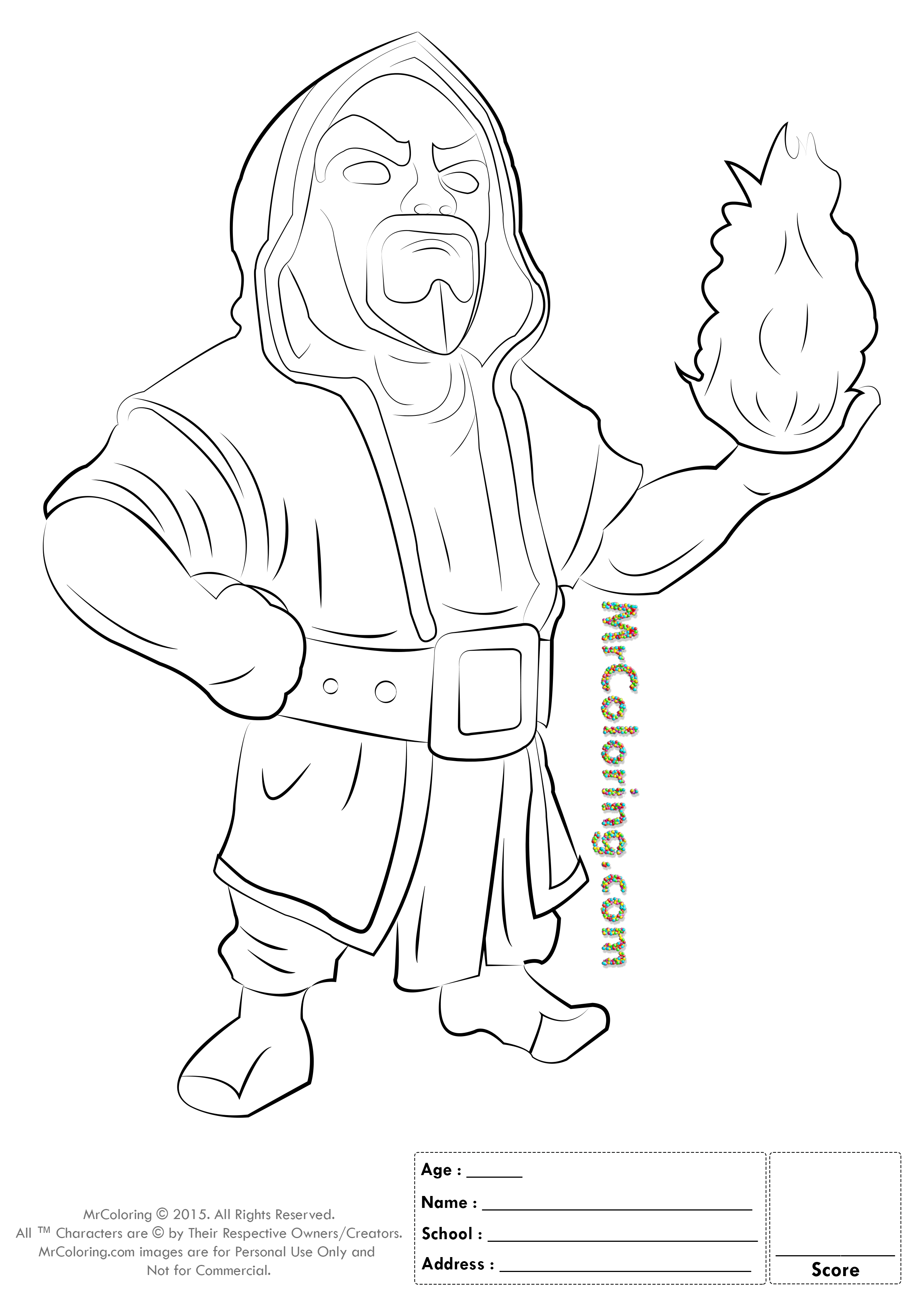 2480x3508 Free Printable Clash Of Clans Wizard Coloring Pages