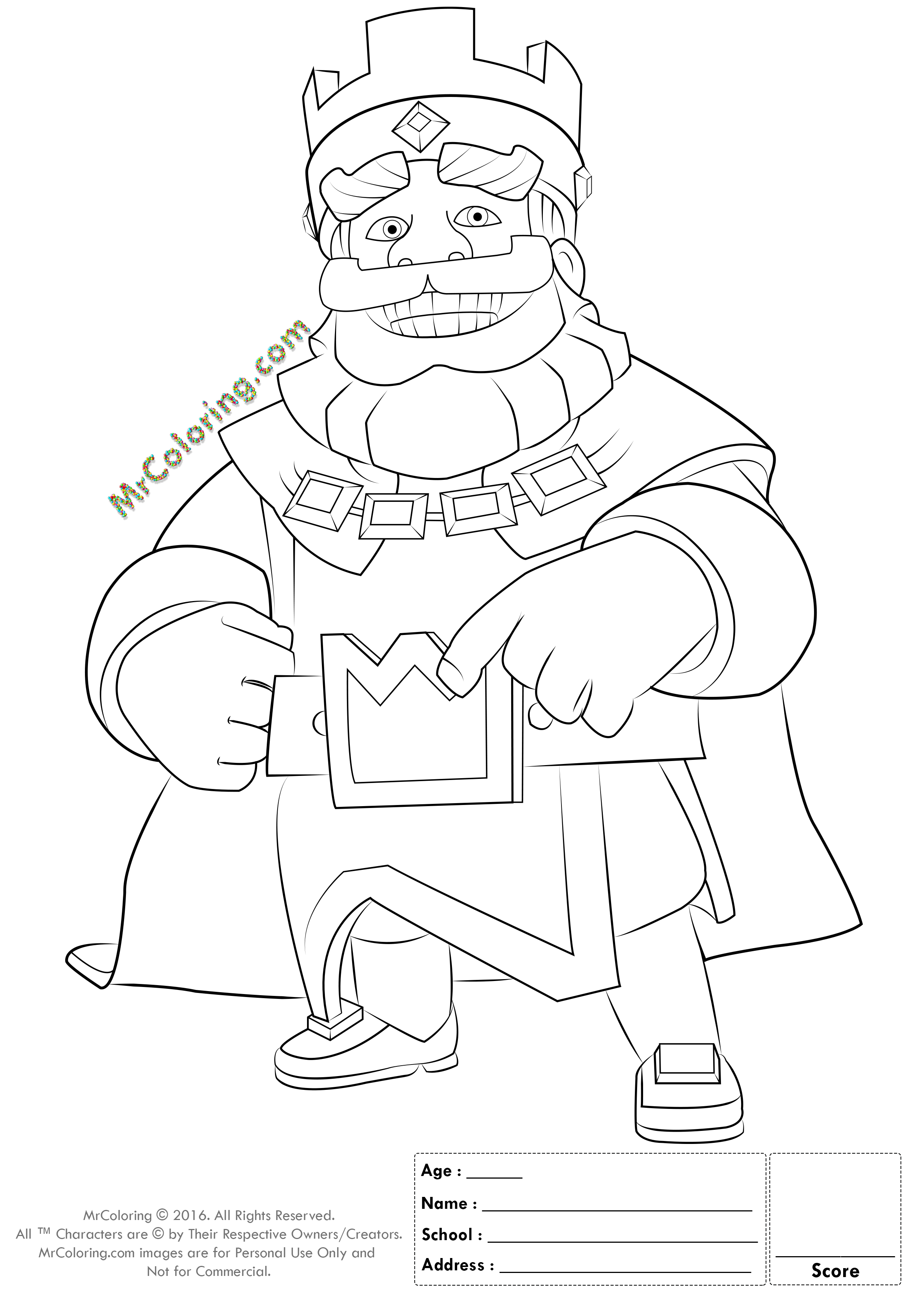 2480x3508 Info Name Blue King Clash Royale Coloring Pages