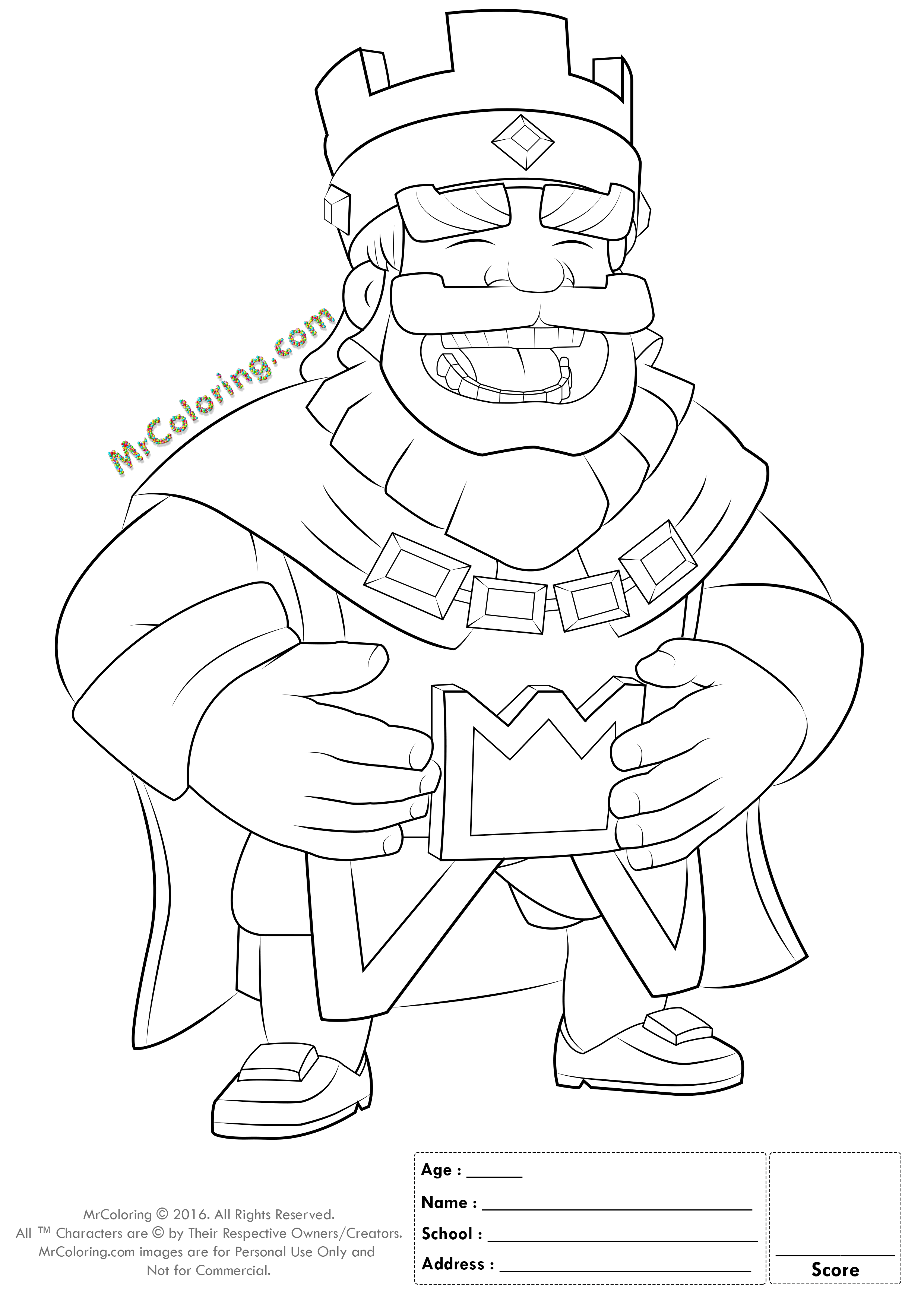 2480x3508 Printable Blue King Clash Royale Online Coloring Pages