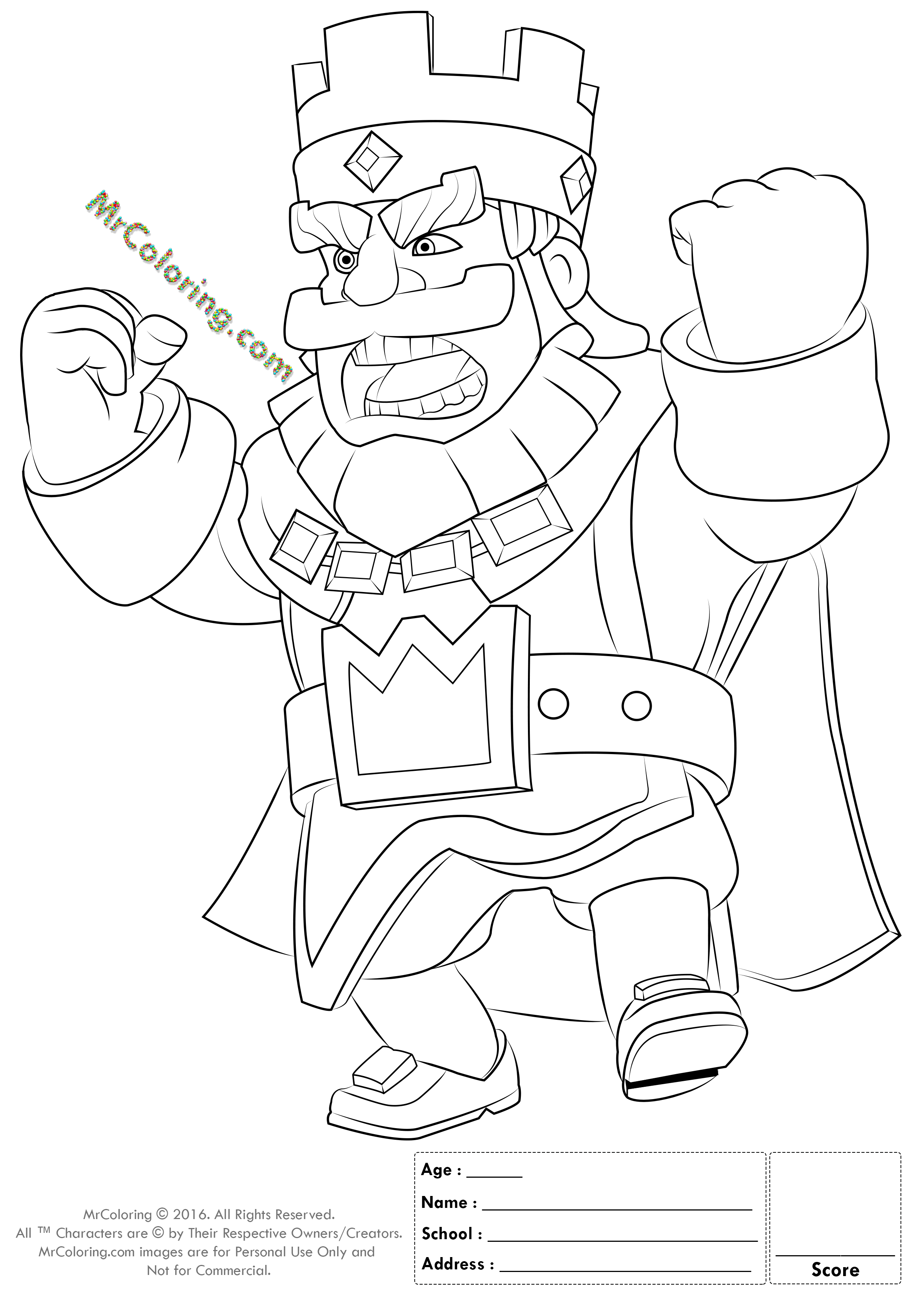 2480x3508 Printable Red King Clash Royale Online Coloring Pages