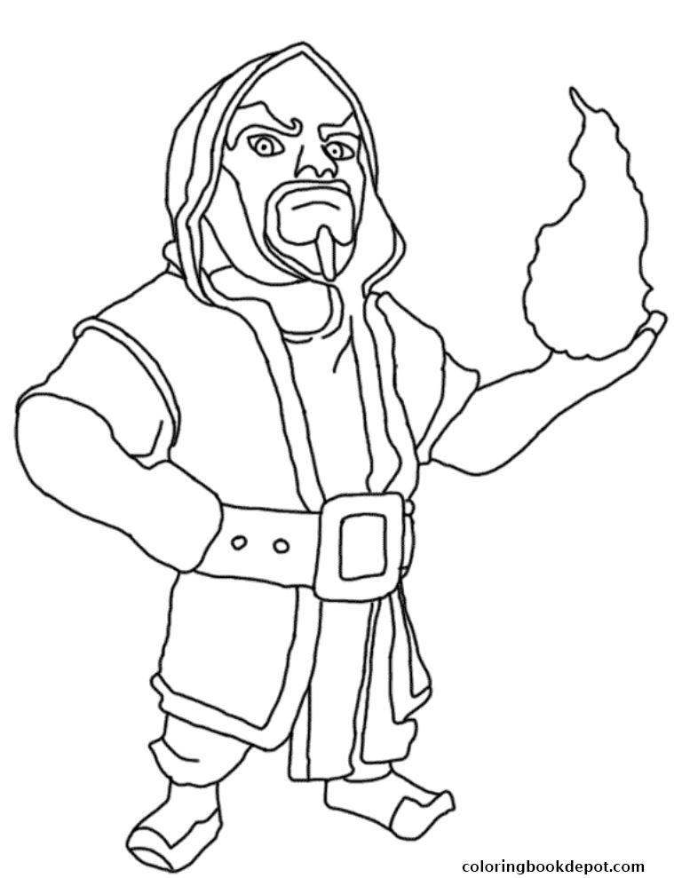 759x989 Wizard Clash Of Clans Coloring Pages