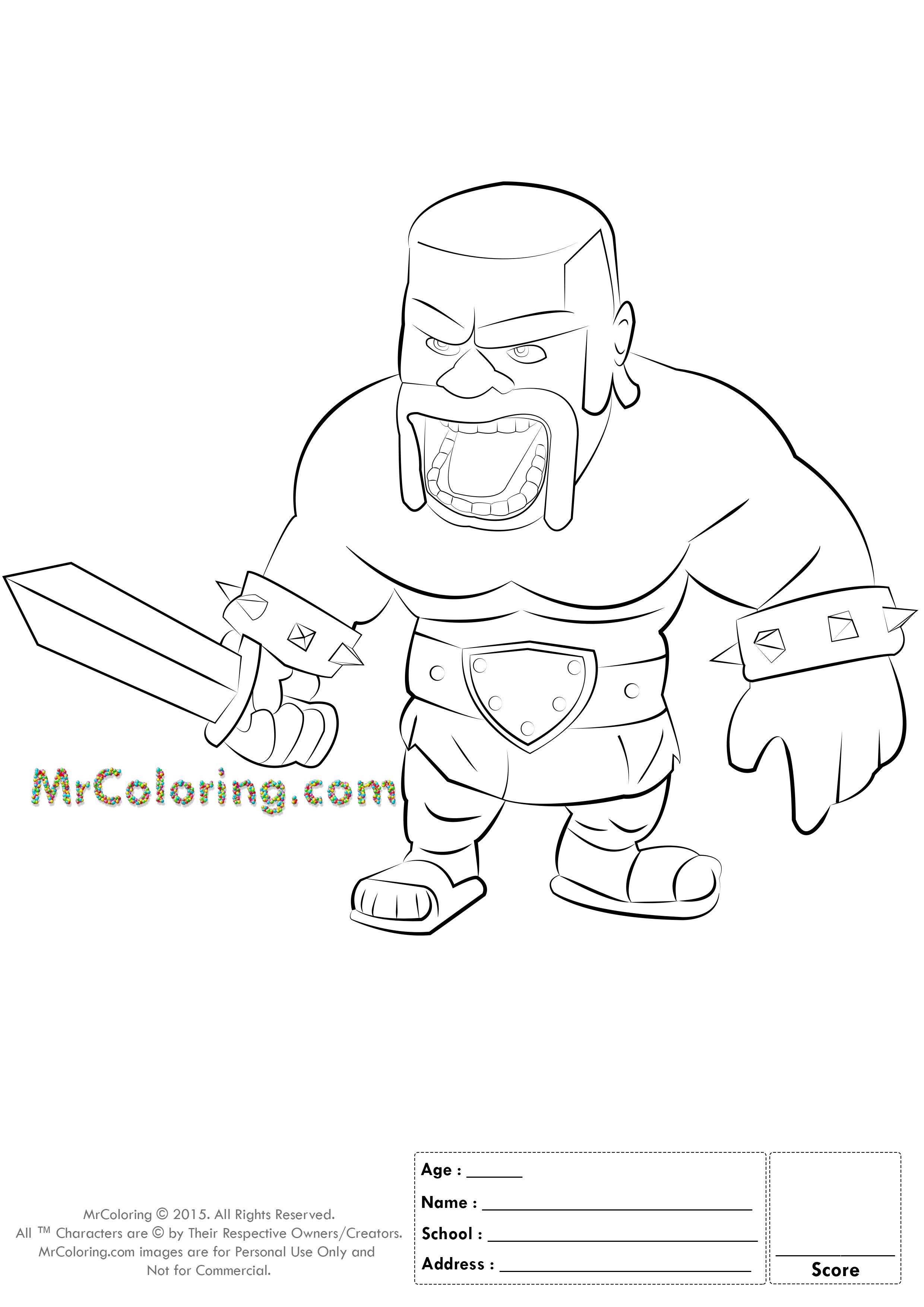 2480x3508 Clash Royale Coloring Pages