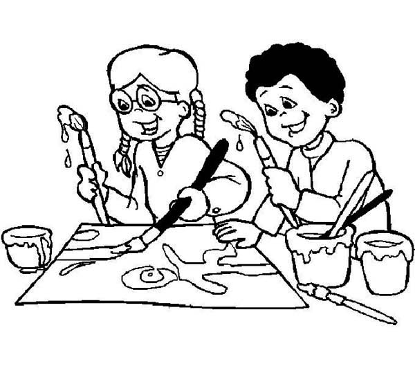 600x529 Doing An Art Class On First Day Of School Coloring Page