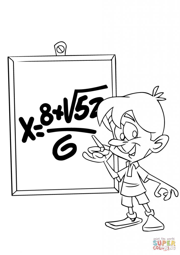 723x1024 Child In Math Class Coloring Page Download