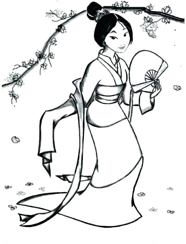 600x789 Mulan Coloring Page Coloring Fa In Her Classic Dress Coloring Page
