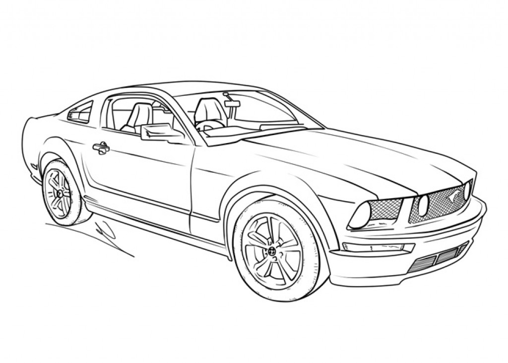 1024x731 Kids Coloring Picture Of A Mustang Muscle Car Transportation